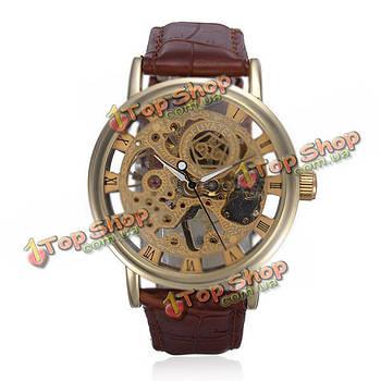 Золотой тон скелет кожа механическая рука ветер наручные часы