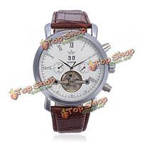 Sewor многофункциональный кожаный автоматические механические мужские наручные часы