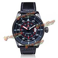 Naviforce NF9044M Военные армейские черные наручные часы с датой ремешок из искусственной кожи