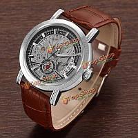 MCE 60218 мужской старинных календарь коричневый ремень из натуральной кожи автоматические механические часы