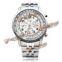 Jaragar нержавеющая сталь Циферблат 3 военные механические наручные часы мужчины
