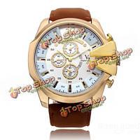 В6 v0201 супер скорость большая 3 набора PU кожаный число спорт мужские часы