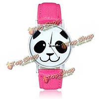 Милые панды моды узор кожа pu группа аналоговые кварцевые наручные часы