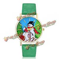 Милый мультфильм снеговик Санта-Клаус снежинка шаблон PU кожаный ремешок аналоговые кварцевые часы