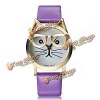 Моды случайные кошка в очках круглый циферблат PU женщин кожаный ремешок Кварцевые наручные часы