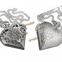 Серебряный форме сердца кварцевые карманные часы ожерелье цепь