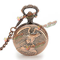 Винтажные орел распространение крылья цепи аналоговый ожерелье унисекс карманные часы