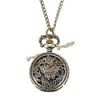 Бронзовая бабочка гравирует кварцевые карманные часы кулон ожерелье цепь