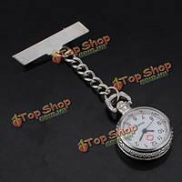 Медсестра серебряный белый циферблат кварцевые карманные часы с прозрачной крышкой пин-код