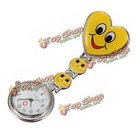 Форма сердца стиль симпатичные красочные карманные часы медсестра брошь pin