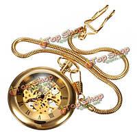 Роскошных ретро ожерелье золота механический аналоговый карманные часы