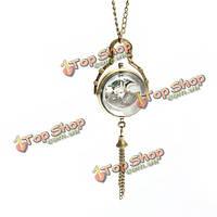 Женщины девушки моды ожерелье год сбора винограда кварца карманные часы