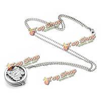 Мужчины женщины старинные серебряные мультфильм полый круглый карманные часы