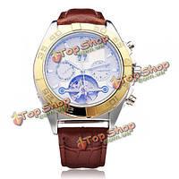 Sewor PU кожаный коричневый механическая маховик мужчины наручные часы