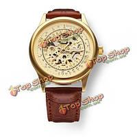 Sewor черный коричневый золотой механическая искусственная кожа мужчины наручные часы