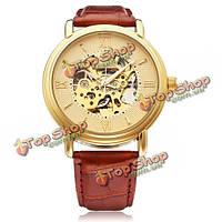 Sewor Ромэн большой циферблат коричневый кожа PU механические наручные часы мужчины
