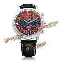 3 jaragar механические с автоподзаводом Циферблат черный мужские наручные часы красный