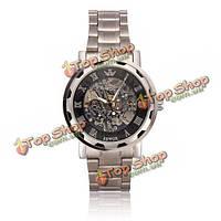 Sewor нержавеющей стали серебро Ромэн скелет механические мужские наручные часы