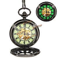 Старинные скелет механические световой черный стимпанк карманные часы