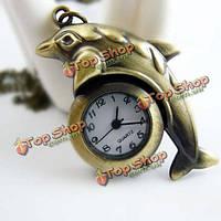 Милые винтажные прыжки дельфинов форма цепи карманные часы