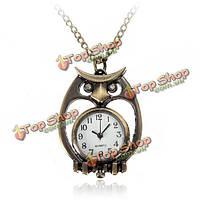 Бронзы год сбора винограда сова сумка черепаха пистолет Pattern ожерелье карманные часы