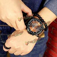 Yazole 322 мужчин световой указатель PU Кожаный ремешок кварцевые часы аналоговые