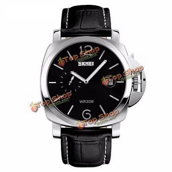 SKMEI 1124 роскошный классический большой циферблат кожаный ремешок бизнесмен кварцевые часы