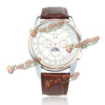 Forsining дорогие мужчины женщины автоматические механические кожаный ремешок унисекс часы