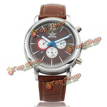 Sewor механические кожа моды роскошные мужские наручные часы