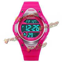 SKMEI 1077 LED цифровые сигнальные водонепроницаемые спортивные наручные часы круглой резинки