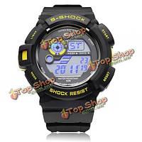 Вахта 0939 календарь спорт черные резиновые цифровые мужские наручные кварцевые часы