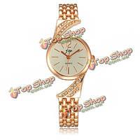 Модные женщины розового золота браслет из нержавеющей стали кварцевые часы