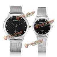 Фальшивый бриллиант womage проектирует часы пары аналога полосы нержавеющей стали