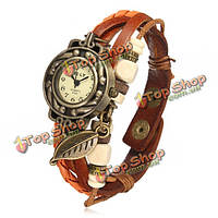 Старинные переплетения листьев кожа женщин браслет браслет кварцевые наручные часы