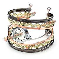 Элегантные волны кольца сплава браслет женщин браслет часы аналоговые