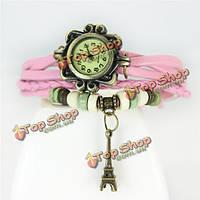 Женская мода ретро железная башня ручной аналоговые часы запястье