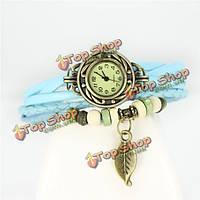 Женский старинные деревянные бусины лист браслет пу кожаный часы
