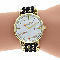 Lady Girl Dress Handmade Braided Ribbon Strap Gold Dial Casual Party Bracelet Quartz Watch