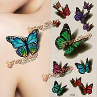 3D бабочки летающие дизайн временные татуировки стикер этикеты
