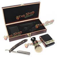 Металла ручной бритвы бритвы прямо бритья нож кожа ремень кисти набор деревянный ящик