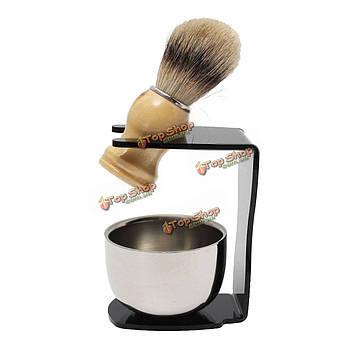 3в1 мужской набор для бритья капельного щетка подставка + барсук волос щеткой + нержавеющая сталь чаша кружка