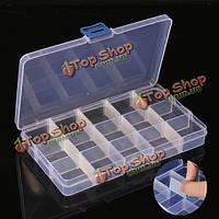 2шт 15 ячеек отсек пластиковый ящик для хранения регулируемый съемный для кончик ногтя самоцветов маленькие вещи
