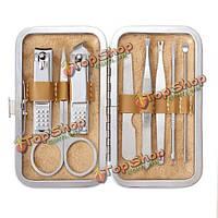 8шт ногтей?уход машинки для стрижки ножничные пинцет педикюр маникюрный набор набор с кожаным случае поездок