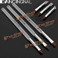 Dancingnail 3шт ногтей акрил UV-гель дизайн набор кистей комплект прозрачный ручка
