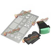 3в1 комплект ногтей штамп скребок набор выскабливание шаблон печати нож
