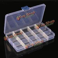 15 клетки отсека пластиковая коробка для хранения регулируется съемный для ногтей кончиком драгоценные камни маленькие вещи