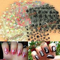 50 лист 3D смешанных стилей цветочный дизайн ногтей наклейки наконечник деколь