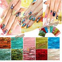 10 цветов 3-и естественные переводные картинки этикеток нейл арта раковины делают маникюр этикетке художественного оформления