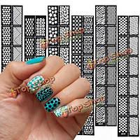 Многоразовые полые штамповки ногтей шаблон трафарет