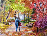 """Вышивка бисером «Идейка» (ВБ 1064) набор """"Осенний парк, скамейка, двое."""" (Елена Самарская), 40x30"""